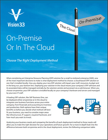 On-Premise or Cloud SAP Brochure
