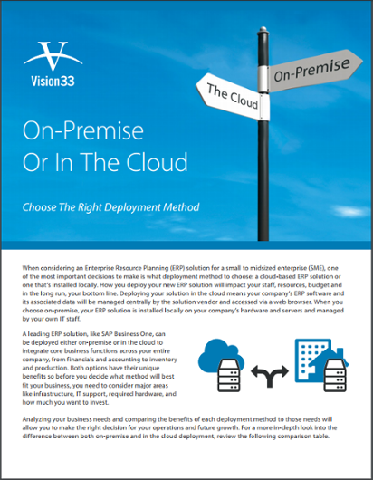 SAP Business One Deployment Methods On-Premise vs Cloud Brochure